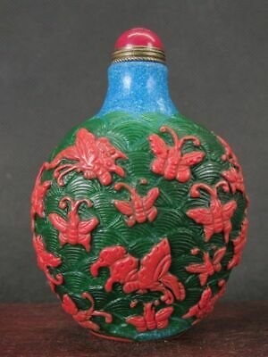Chinese Most Butterflies Carved Peking Overlay Glass Snuff Bottle