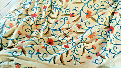 Teal and burnt Orange crewel embroidered  fabric  for making cushion cover