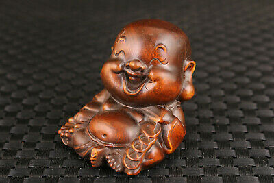 lucky Chinese boxwood hand carved buddha statue figure netsuke collectable Art