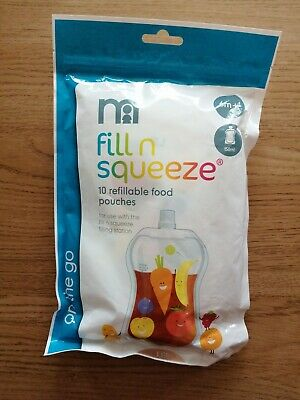 Mothercare Fill N Squeeze 10 Refillable Food Pouches 10X150ml