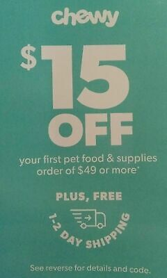 ➡️  CHEWY CODE —$15 OFF FIRST Order of $49 - chewy.com coupon Exp. 6/30/20 ➡️