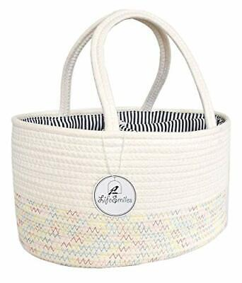 LifeSmiles Baby Diaper Caddy Organizer - Cotton Rope Basket, Baby Basket for