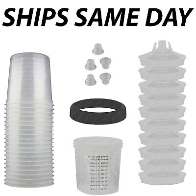 NEW Disposable Spray Paint Gun Plastic Liners & Lids Kits 20-Ounce 600ML Cups