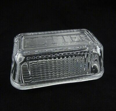 1/2Ib Pound Vintage Covered 'Butter' Dish Farmhouse Clear Glass