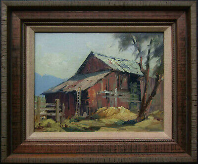LISTED Ralph Love Older American Impressionist Barn View Oil Painting #1 NO RES
