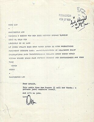 ORSON WELLES. Actor, Writer, Director. 1969 AN & TLS on copy of cable re $20,000