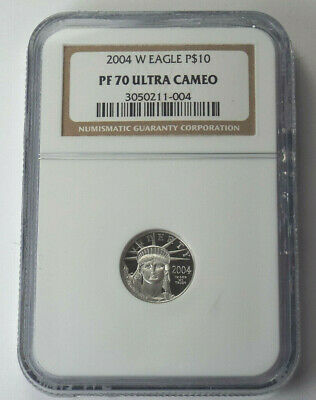 2004-W $10 American Platinum Eagle Proof 1/10 Oz Ounce .9995 Fine NGC PF70 UC