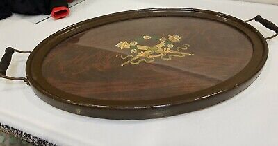 Antique Wooden Butler Serving Tray with Handles and Glass Cover Vintage Oval