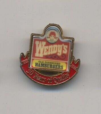 Vintage Wendy's Fast Food Lapel Pin - 30 Years Of Quality