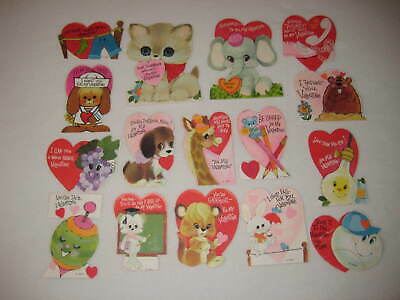 Valentines Vintage Valentine Cards 1970s Childrens Classroom Lot of 16