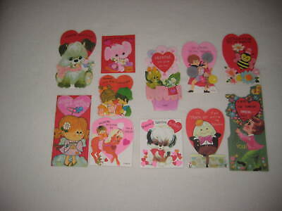 Vintage Valentine Cards 1970s Childrens Classroom Lot of 11 Valentines