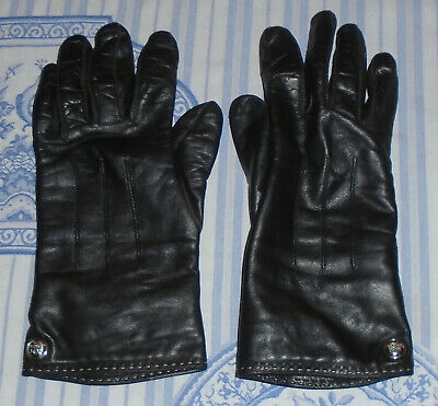 Coach Black Leather Gloves 80633 Cashmere Lined Wrist Length Silver Buttons Sz 8