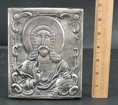Authentic Signed Hallmarked Russian 84 Silver Hand Chased Icon, Jesus Christ, NR
