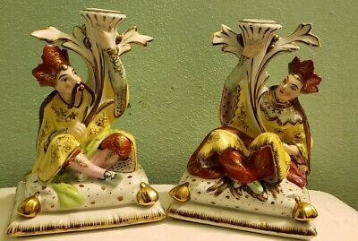 ERPHILA Hand Painted  pair Of Chinese Royals Candlesticks