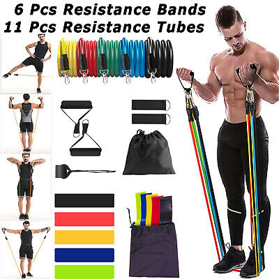 11 Pcs/set Resistance Bands Tube Yoga Workout Exercise Fitness Band For Gym Home