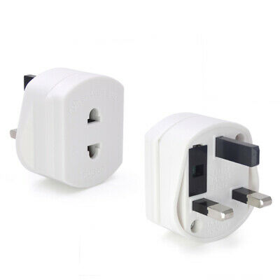 USA to UK Plug Adapter Converts 3 pin USA Plug to 2 Prong Grounded UK Wall Plug
