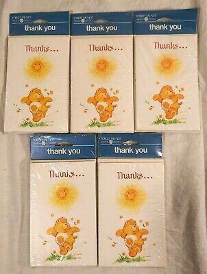 Vtg 1983 Care Bear Thank You Cards 5 packs of 8 American Greetings New 40 Total