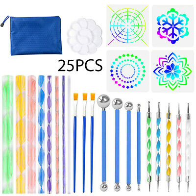 25 Pcs Mandala Dotting Tools for Rock Painting Kit Dot Art Rock Pen Paint Sets