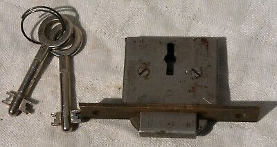 Unusual Reclaimed Brass & Metal Cabinet Cupboard Trunk Box Lock + 2 Keys