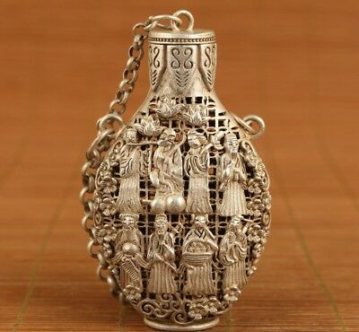 chinese old tibet silver hollow carved 8 immortals snuff bottle netsuke Box a137