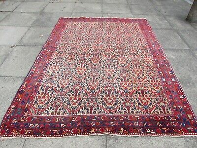 Antique Worn Traditional Hand Made Oriental Pink Red Wool Large Rug 216x163cm