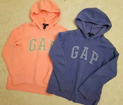 Girl's GAP Hoodie Tracksuit Jumper Tops x 2 Age 10-11 Yrs Neon Pink & Blue