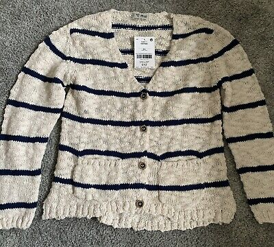 BNWT Next Girls Cream & Navy Stripe Lightweight Long Sleeve Cardigan - 6 Years