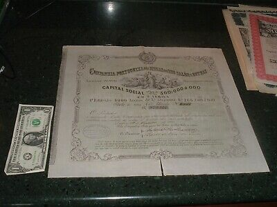 Antique Stock Certificate : Ex.Large 1882 Portugal Mines Mining Great vignettes