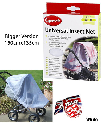 Clippasafe Carrycot & Pram Insect Net White Mesh Mosquito Repellent Cover Screen