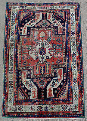 Large Antique hand Woven Wool Caucasian Area Carpet Rug  NO RESERVE!