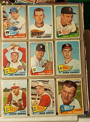 1965 Topps Baseball Lot Of 29 Cards. Don Larson, Dean Chance, Joe Nuxhall)