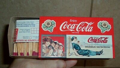 Vintage Coca Cola BIG METAL COKE BOX of WOOD Matches 38 Years Old NOS