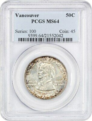 1925 Vancouver 50c PCGS MS64 - Low Mintage Issue - Silver Classic Commemorative