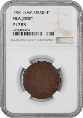 1786 New Jersey NGC F12 BN (Narrow Shield, Beam Straight) - Colonial Coinage