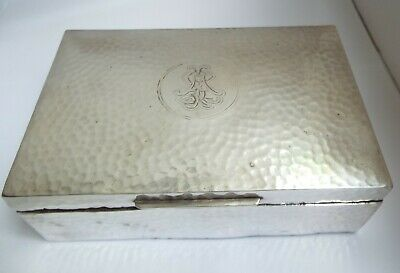 Handsome Large Heavy English Antique 1905 Solid Sterling Silver Playing Card Box
