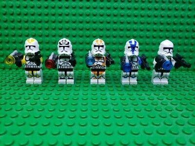 Custom Lego Star Wars Lot of 5 Mixed Color Clone Trooper Set + 10 Blasters