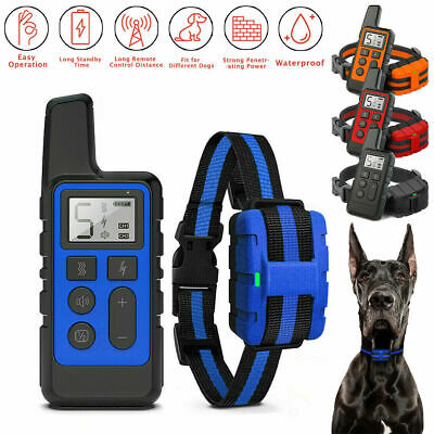 875 Yards Electric Dog Shock Remote Pet Training Collar Waterproof Rechargeable