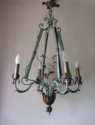 CLASSIC ANTIQUE  FRENCH Rare repousse forged iron four branch chandelier