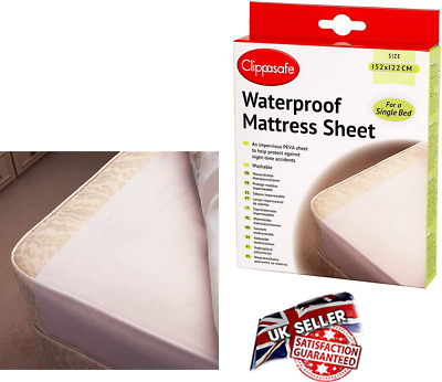 Clippasafe Waterproof Matress Sheet Single Bed Child Toddler Accidents 152x122cm