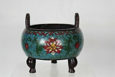 Fine Antique Chinese Bronze Enamel/Cloisonne Censor - QianLong mark