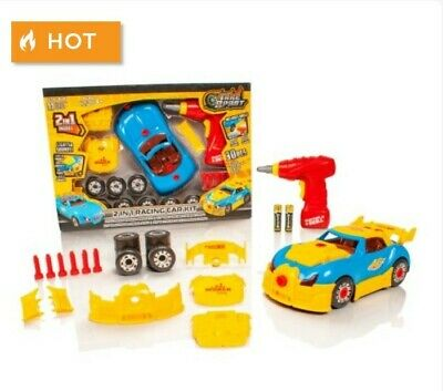 Take Apart 2in1 F1 Race Car Childrens Kids Model Construction Kit Drill Tool Toy