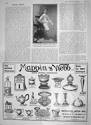 Old Antique Print 1907 Musical Prodigy Ernst Lengyel Mappin Webb London 20th