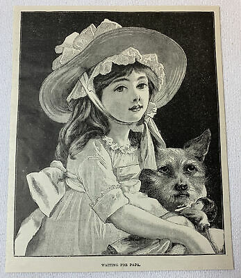 1887 magazine engraving ~ WAITING FOR PAPA girl and her dog