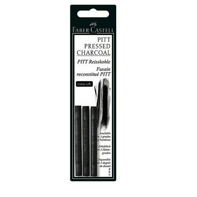 Faber-Castell Usa 129997 Artists Compressed Charcoal Soft Sticks 3 Pack Carded