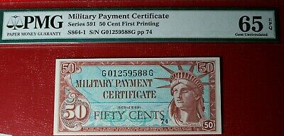 Military Payment Certificate - Series 591 (50 cent first printing)   PMG MS65EPQ