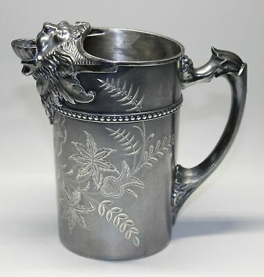 Victorian Tuft's Silverplate Figural Lion Spout Ornate Pitcher
