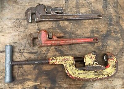 "Ridgid 2A Pipe Cutter + 14"" & 12"" Pipe Wrenches"
