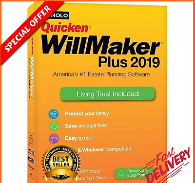 Quicken WillMaker Plus 2019 Includes Living Trust Full Version- Instant Delivery