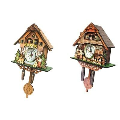 Blesiya 2xWall Clock Wooden Cuckoo Bird Time Bell Swing Alarm for Home Decors