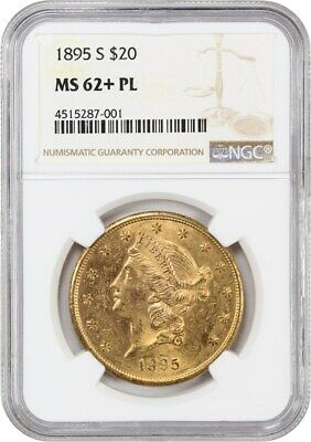 1895-S $20 NGC MS62+ PL - Pretty Mirrors! - Liberty Double Eagle - Gold Coin